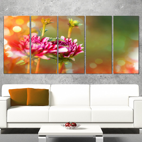 Designart Pink Flowers on Blurred Background LargeFlower Canvas Wall Art - 5 Panels