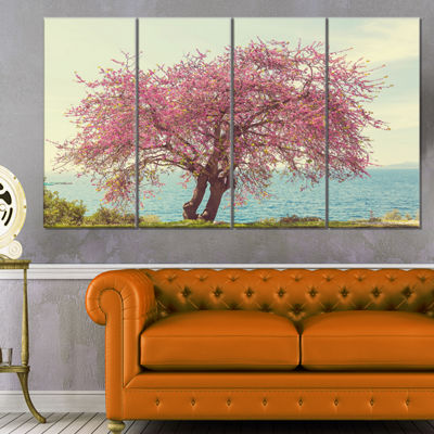 Designart Pink Flowers on Lonely Tree Landscape Canvas Art Print - 4 Panels