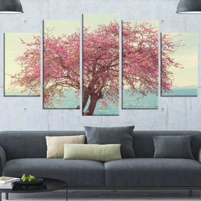 Designart Pink Flowers on Lonely Tree Landscape Wrapped Canvas Art Print - 5 Panels