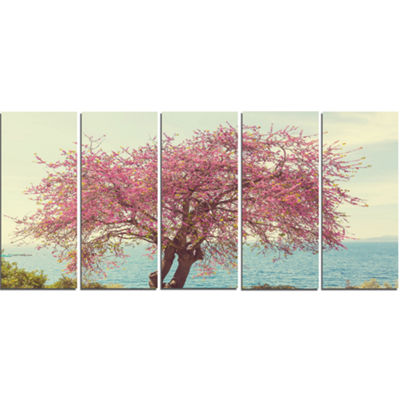 Designart Pink Flowers on Lonely Tree Landscape Canvas Art Print - 5 Panels