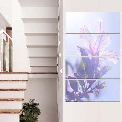 Designart Pink Hibiscus Flower in Hawaii Large Flower CanvasArt Print - 4 Panels