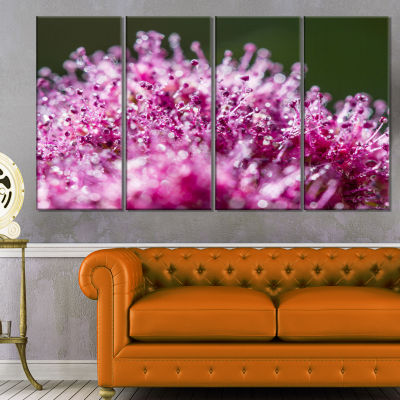 Pink Little Flowers Close Up View Large Floral Wall Art Canvas - 4 Panels