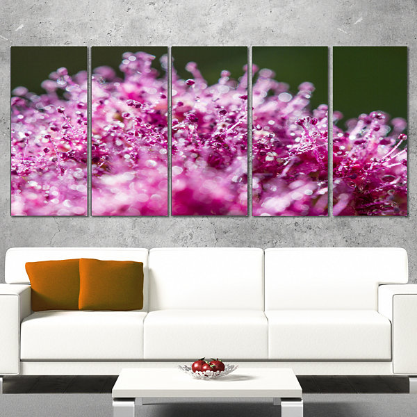 Pink Little Flowers Close Up View Large Floral Wrapped Art Wrapped Canvas - 5 Panels