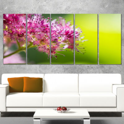 Pink Little Flowers in Green Floral Art Canvas Print - 4 Panels