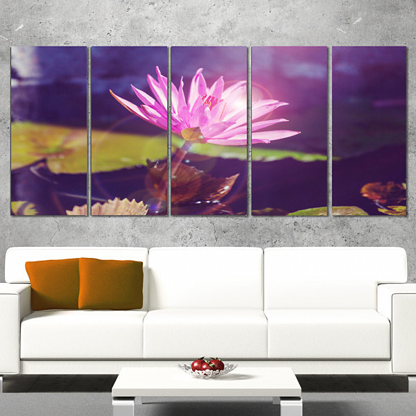 Designart Pink Lotus Flower on Blue Background Floral Wrapped Canvas Art Print - 5 Panels