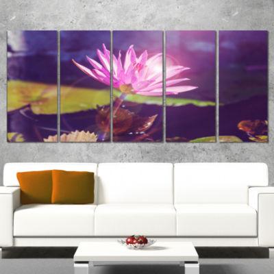 Designart Pink Lotus Flower on Blue Background Floral CanvasArt Print - 5 Panels