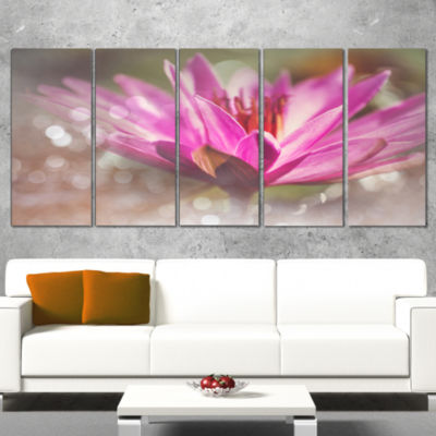 Pink Lotus on Abstract Background Floral Canvas Art Print - 4 Panels