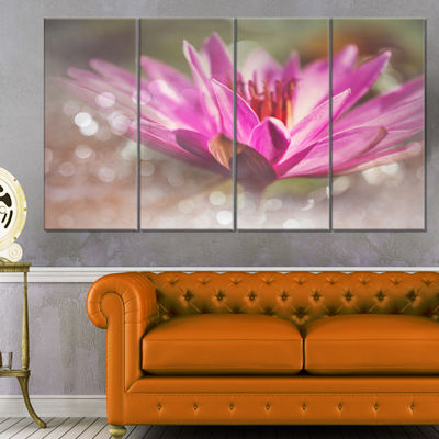 Designart Pink Lotus on Abstract Background FloralCanvas Art Print - 4 Panels