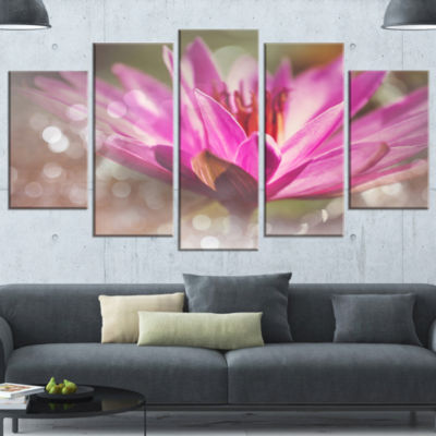 Pink Lotus on Abstract Background Floral Wrapped Canvas Art Print - 5 Panels