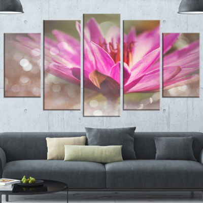 Designart Pink Lotus on Abstract Background FloralWrapped Canvas Art Print - 5 Panels