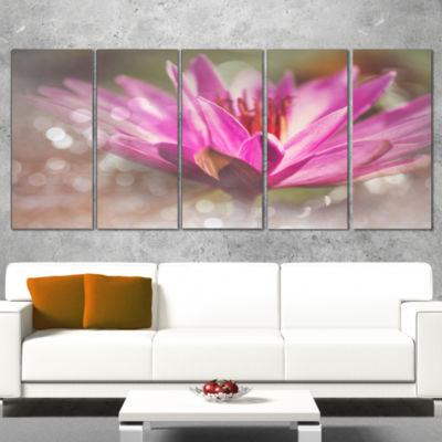 Designart Pink Lotus on Abstract Background FloralCanvas Art Print - 5 Panels