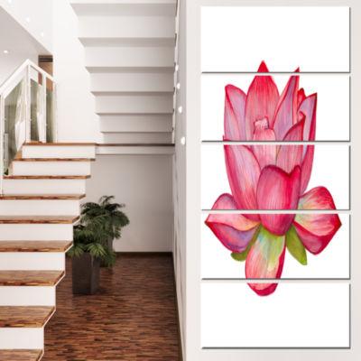 Designart Pink Lotus Watercolor Illustration Flower Artworkon Canvas - 4 Panels