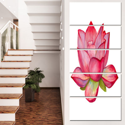 Designart Pink Lotus Watercolor Illustration Flower Artworkon Canvas - 5 Panels