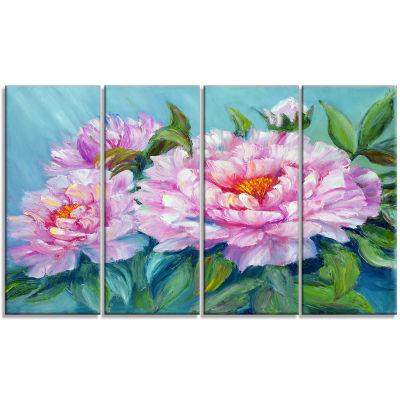 Designart Pink Peonies Floral Art Canvas Print - 4Panels