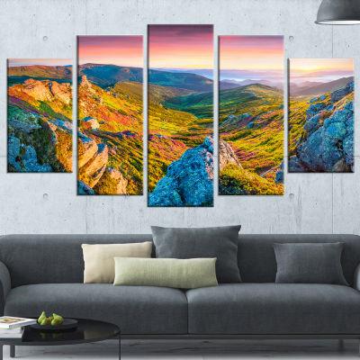 Pink Rhododendron Flowers Landscape Photo Canvas Art Print - 4 Panels