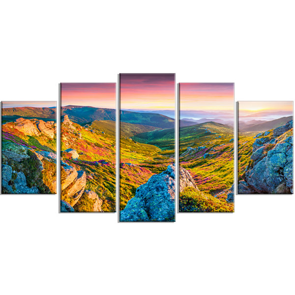 Designart Pink Rhododendron Flowers Landscape Photo Canvas Art Print - 5 Panels
