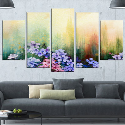Designart Pink Sakura Flowers in Soft Color FloralWrapped Canvas Art Print - 5 Panels