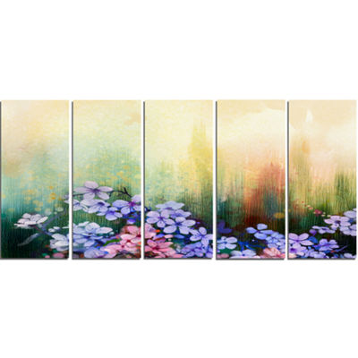 Designart Pink Sakura Flowers in Soft Color FloralCanvas Art Print - 5 Panels