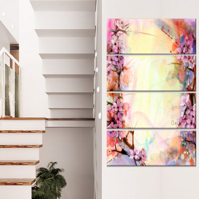 Designart Pink Sakura on Blurred Background FloralCanvas Art Print - 4 Panels