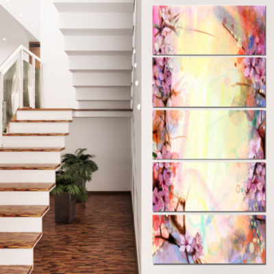 Designart Pink Sakura on Blurred Background FloralCanvas Art Print - 5 Panels