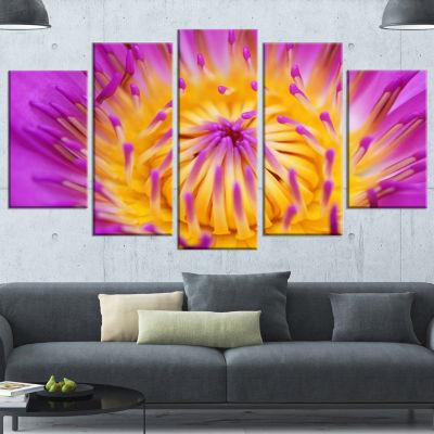 Designart Pink Yellow Abstract Lotus Flower Flowers Canvas Wall Artwork - 4 Panels