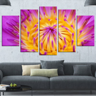 Designart Pink Yellow Abstract Lotus Flower Flowers WrappedCanvas Wrapped Artwork - 5 Panels