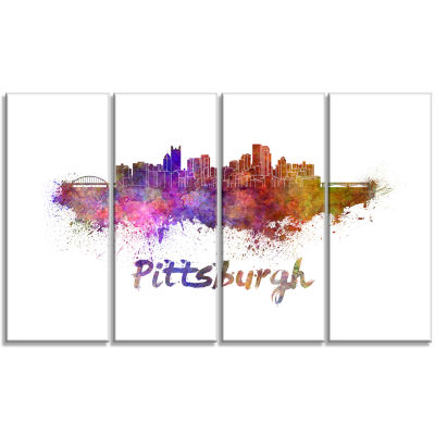 Pittsburgh Skyline Cityscape Canvas Artwork Print- 4 Panels