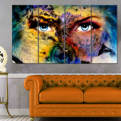 Planet Earth and Human Animal Canvas Art Print - 4Panels