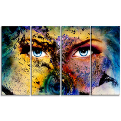Designart Planet Earth and Human Animal Canvas ArtPrint - 4Panels