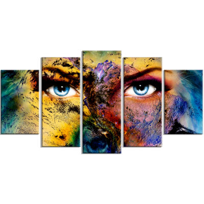 Planet Earth and Human Animal Wrapped Canvas Art Print - 5 Panels