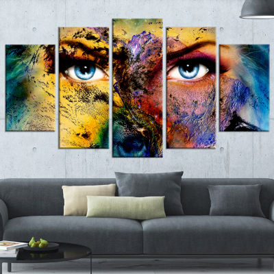 Designart Planet Earth and Human Animal Canvas ArtPrint - 5Panels