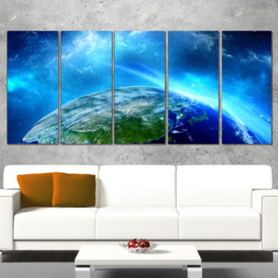 Planet Earth in Universe Contemporary Wrapped Canvas Art Print - 5 Panels