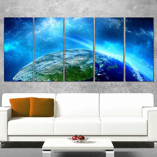 Planet Earth in Universe Contemporary Canvas Art Print - 5 Panels