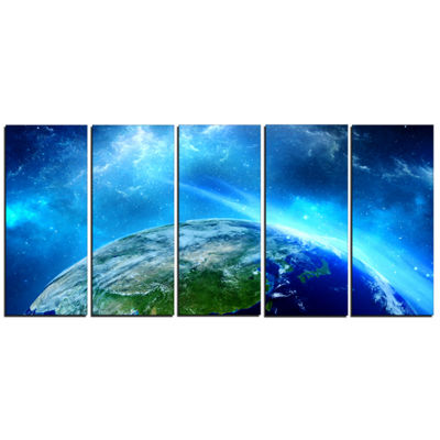 Designart Planet Earth in Universe Contemporary Canvas Art Print - 5 Panels