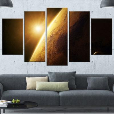 Designart Planet Mars Close Up With Sunrise LargeLandscapeWrapped Canvas Art - 5 Panels