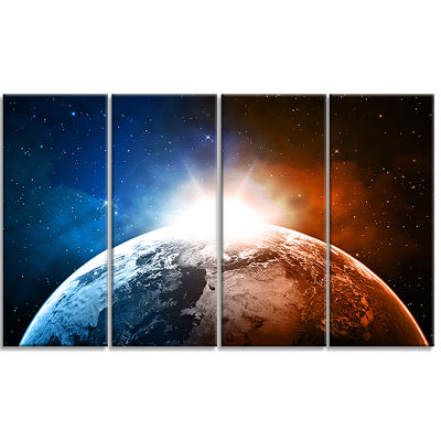 Planet With Sunrise in Space Contemporary Canvas Art Print - 4 Panels