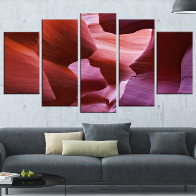 Designart Play of Light in Antelope Canyon Landscape Photography Canvas Print - 5 Panels