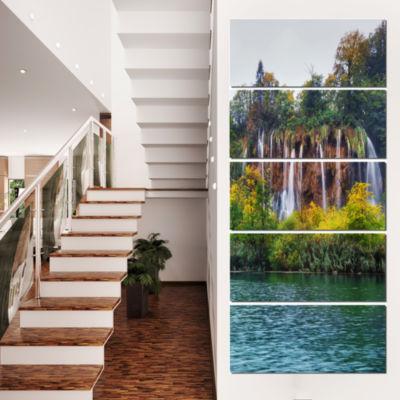 Designart Plitvice Lakes Croatia Landscape Photo Canvas ArtPrint - 4 Panels