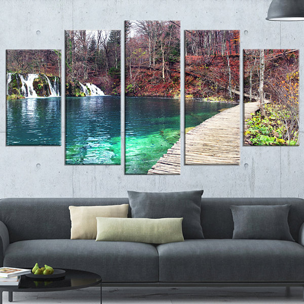 Designart Plitvice Lakes National Lark Landscape PhotographyCanvas Art Print - 4 Panels