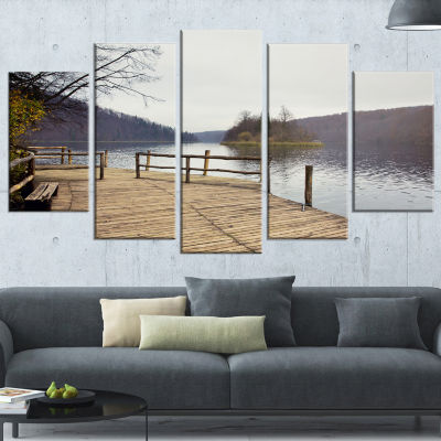 Designart Plitvice Lakes Wooden Bridge Landscape Photo Canvas Art Print - 4 Panels