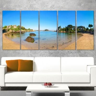 Designart Ploumanach Rocks and Beach Morning Oversized Landscape Wall Art Print - 4 Panels