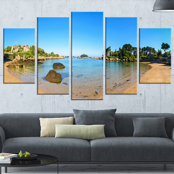 Designart Ploumanach Rocks and Beach Morning Oversized Landscape Wrapped Art Print - 5 Panels