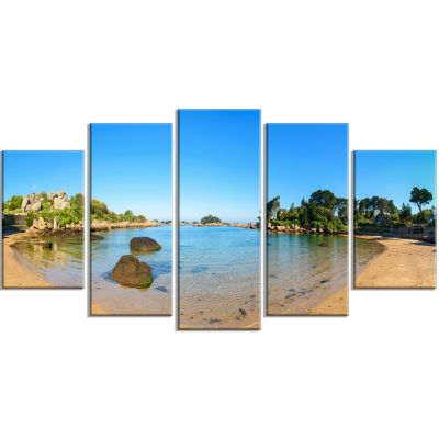 Ploumanach Rocks and Beach Morning Oversized Landscape Wrapped Art Print - 5 Panels