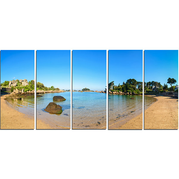 Designart Ploumanach Rocks and Beach Morning Oversized Landscape Wall Art Print - 5 Panels