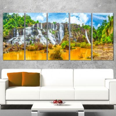 Designart Pongour Waterfall Landscape PhotographyCanvas ArtPrint - 4 Panels