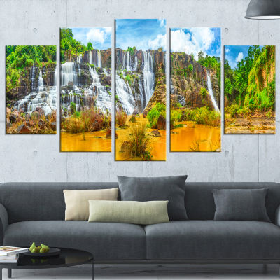 Pongour Waterfall Landscape Photography Wrapped Canvas Art Print - 5 Panels