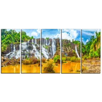 Designart Pongour Waterfall Landscape PhotographyCanvas ArtPrint - 5 Panels