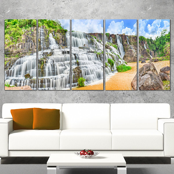 Designart Pongour Waterfall Photography Wrapped Canvas Art Print - 5 Panels