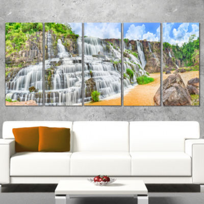 Designart Pongour Waterfall Photography Canvas ArtPrint - 5Panels