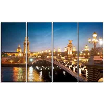 Designart Pont Alexandre Iii Bridge Cityscape Photo Canvas Art Print - 4 Panels